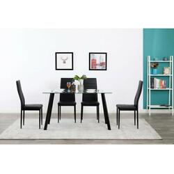 Durable 5 Piece Dining Table Set 4 Chair Glass Metal Kitchen Room Breakfast NEW $198.69