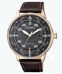 Citizen Eco-Drive Men's BM7393-08H Rose-Gold Tone Case Leather Band 42mm Watch $74.99