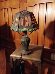 Handel S Palm desk lampmissionarts and crafts