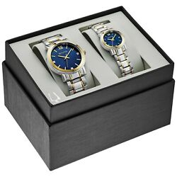 Bulova Quartz Gold Tone Case Two Tone Matching His and Hers Watch Set 98X117 $179.99