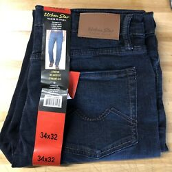 New Urban Star Men#x27;s Relaxed Fit Straight Leg Jeans Blue 34X32 $28.99