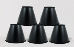 """Set of 5 Black Parchment Clip On Chandelier Lamp Shades With Gold Liner3""""x6""""x5"""""""