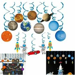 Outer Space Themed Birthday Party 14 Pack Planet Solar Hanging Swirl Decoration $13.62