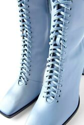 NEW ZARA 2020 BLUE RUNWAY COLLECTION LACE UP HIGH HEEL BLUE LEATHER BOOTS 38EUR