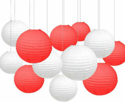 24pk White amp; Red Paper Lanterns 8in. Chinese Lanterns Party Decorations Set $29.99