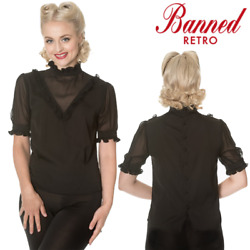 Banned Apparel Breaking Rules High Neck Ruffle Net Mesh Black Vintage Blouse