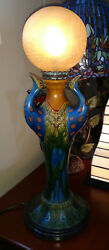 Tiffany Reproduction Lamp Peacock Globe Pottery with Lundberg Favrile Shade $875.00