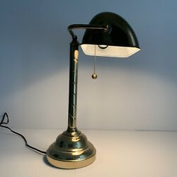 """Mid Century Brass Table Bankers Lamp 17"""". Twisted Design $79.00"""