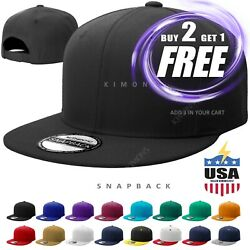 Snapback Hat Flat Baseball Cap Trucker Solid Plain Blank Men Hip Hop Adjustable $7.95