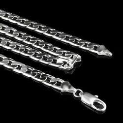 925 Silver Plated 6 mm Curb Cuban Chain Men Women Necklace 16