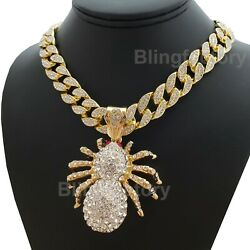 Hip Hop Gold PT Large Spider Pendant amp; 18quot; Full Iced Cuban Choker Chain Necklace $16.14