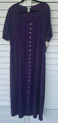 New Catherines Added Dimensions Purple Floral Embroidery Maxi Dress Size 1X NWT $19.97