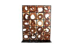 75quot; T Modern Room Screen One of a Kind Freeform Acacia Wood Slices Metal Grid $5097.00