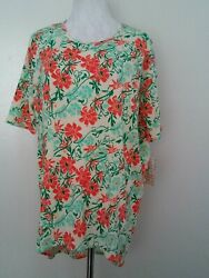 LuLaRoe IRMA Multi Color Floral High Low Hem Short Sleeve SIZE XS $7.50