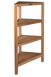 Bathroom storage and space saver Wood Teak Four Corner Tier Spa Tower