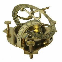 Brass Sundial Compass 3quot; Nautical Maritime Antique Vintage Style Sun Dial Gift $17.99