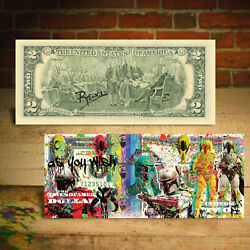 BOBA FETT Star Wars As You Wish Genuine $2 US Bill Pop Art HAND-SIGNED by Rency