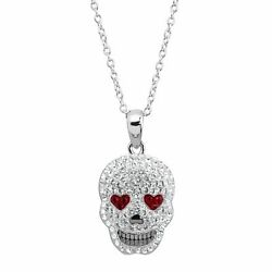 Crystaluxe Heart Eyes Skull Pendant with Crystals in Sterling Silver $24.99