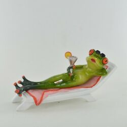 Comical Frogs Cocktail on Deck Chair Figure Funny Ornament in Box 80324 GBP 17.50