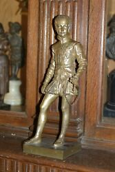 ANTIQUE PERIOD FRENCH PATINATED BRONZE STATUE HENRY IV FANTASTIC DETAIL C.1880 $600.00