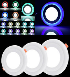Dual Color RGB LED Ceiling Panel Light Recessed Downlight Spot Lamp Ultraslim US