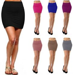 Womens Pencil Mini Skirt Stretch Mid Waist Basic Bodycon Rayon Casual S XL $14.49
