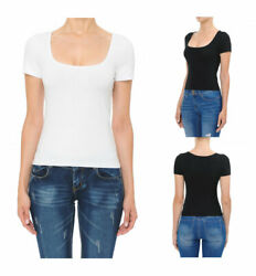 WOMEN BASIC SOLID COTTON SQUARE NECK SHORT SLEEVE STRETCH TOP SHIRT 71928 $8.99