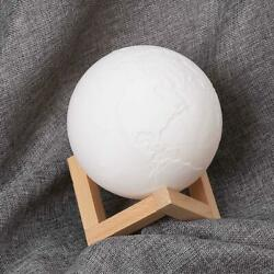 3D Print Earth LED Lamp Touch Switch Brightness Adjustable with Wooden GDY7 07