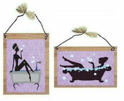 Paris Bathroom Pictures Lavender Lady in Bath Tub Purple Wall Hangings Plaques $10.99