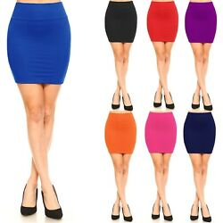 Women#x27;s Pencil Mini Skirt Mid Waist Basic Bodycon Shinny Stretch Material S XL $12.98