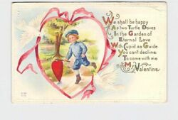 ANTIQUE POSTCARD VALENTINES BOY CHASING HEART DOWN PATH DOVES WITH PINK RIBBON E $6.80