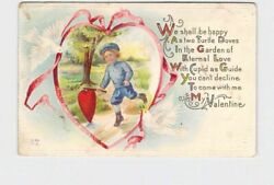 ANTIQUE POSTCARD VALENTINES BOY CHASING HEART DOWN PATH DOVES WITH PINK RIBBON E $5.95