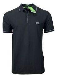 Hugo Boss Men's Paule 50277329 Moisture Manager Polo Shirt Slim Fit Black