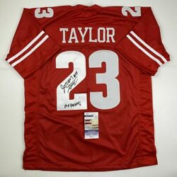 AutographedSigned JONATHAN TAYLOR Inscribed Wisconsin College Jersey JSA COA