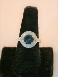 Charter Club Silver Tone Teal Blue Crystal Double Halo Ring $6.00