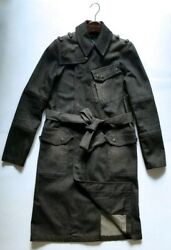 RARE RALPH LAUREN BLACK LABEL COLLECTION MENS DENIM MILITARY LONG BELTED COAT:S