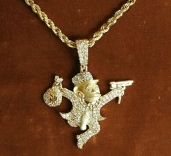 14K Yellow Gold Chain Necklace & Diamond Bank Robber Monopoly Guy Pendant