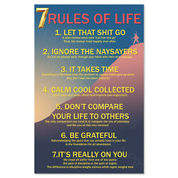 7 Rules of Life Motivational Poster Inspirational Art High Quality Prints $12.99