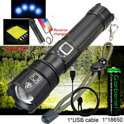 990000Lumens Zoomable XHP70.2 5 Modes LED Rechargeable Flashlight Torch Hunting $19.99