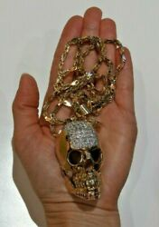 14K Gold Chain and Skull Pendant with 1.25 TCW Diamonds Pendant Bling Necklace