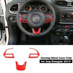 Red Steering Wheel Button Decor Cover Trim For Jeep Compass 17 Renegade 15 3X $15.98