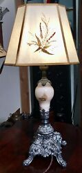 Victorian Table Lamp w Vintage Octagonal Pressed Dried Flower Lamp Shade $199.00