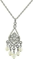 Necklace WomenVintage Silver Crystals and Pearls Chandelier Necklace 16 in adj $18.95