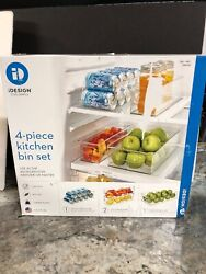 4 iDesign Kitchen Bin Set Plastic Pop Bear Can Dispenser Refrigerator Freezer $19.95