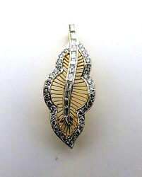Diamonds Leaf Pendant and Used Brooch 18k. Yellow Gold.