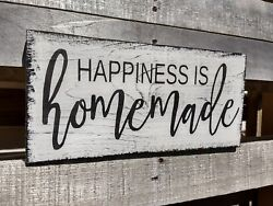 farmhouse wood sign HAPPINESS IS HOMEMADE home decor wood rustic kitchen family $16.99