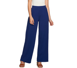 Denim & Co. Beach Regular Solid Pull On Pants With Pockets Size S Bright Navy $9.99