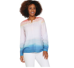 Kelly by Clinton Kelly Long Sleeve Printed Georgette Top SKY Color Size S $14.99
