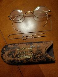 Gold glasses antique with case and chain quot;hair pinquot; type fastener $55.00