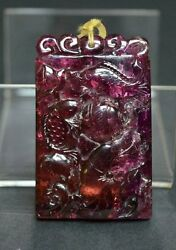 chinese rose red  tourmaline carved pendant fish lotus carving